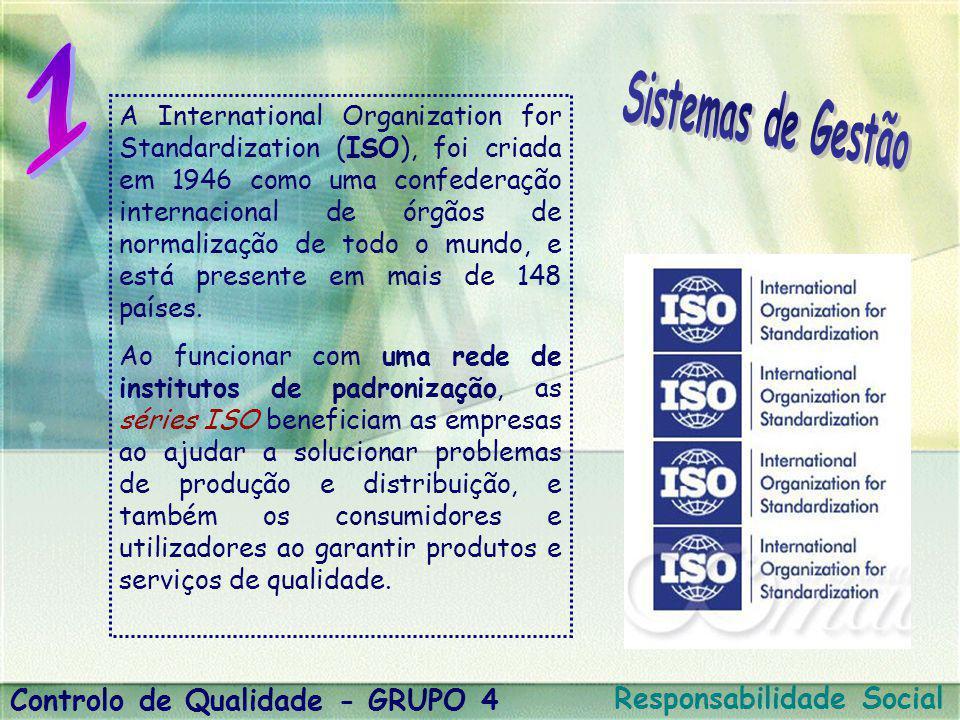 A International Organization for Standardization (ISO), foi criada em 1946 como uma confederação internacional de órgãos de normalização de todo o mun