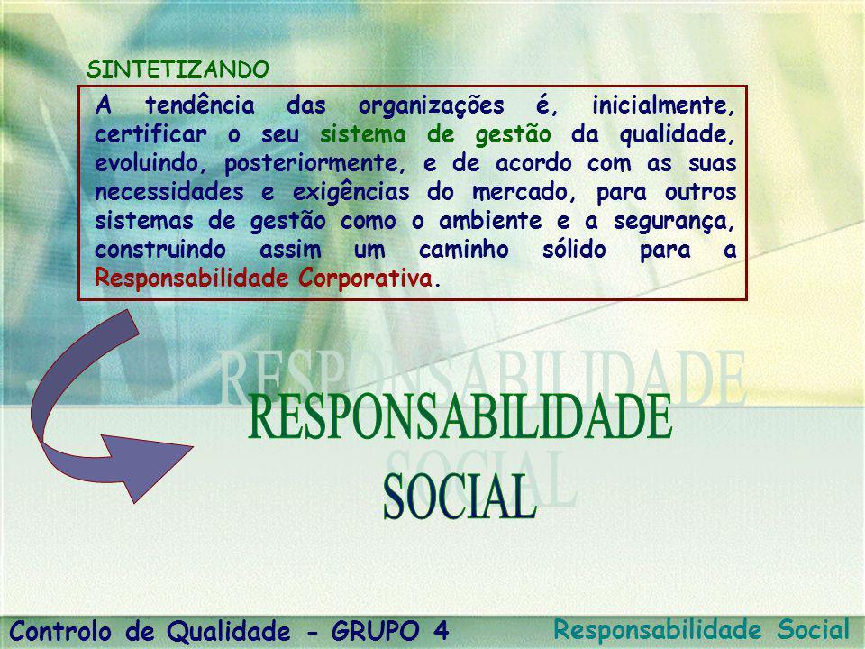 Controlo de Qualidade - GRUPO 4 Responsabilidade Social A tendência das organizações é, inicialmente, certificar o seu sistema de gestão da qualidade,