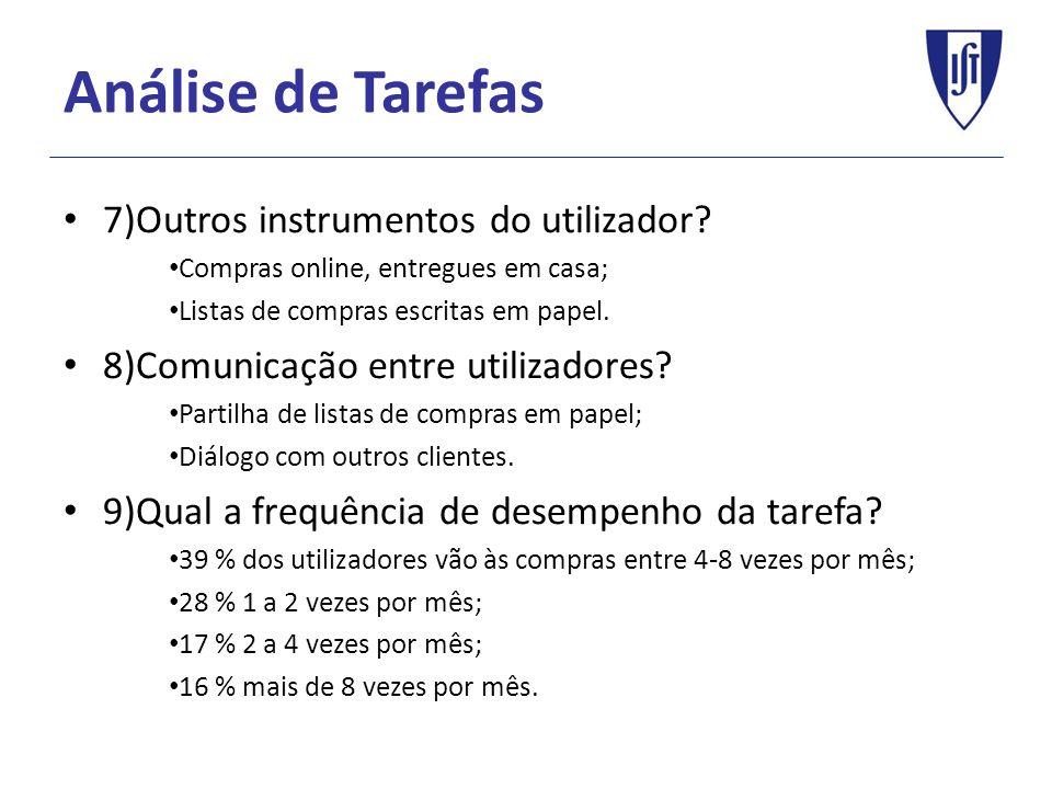 Análise de Tarefas 7)Outros instrumentos do utilizador.