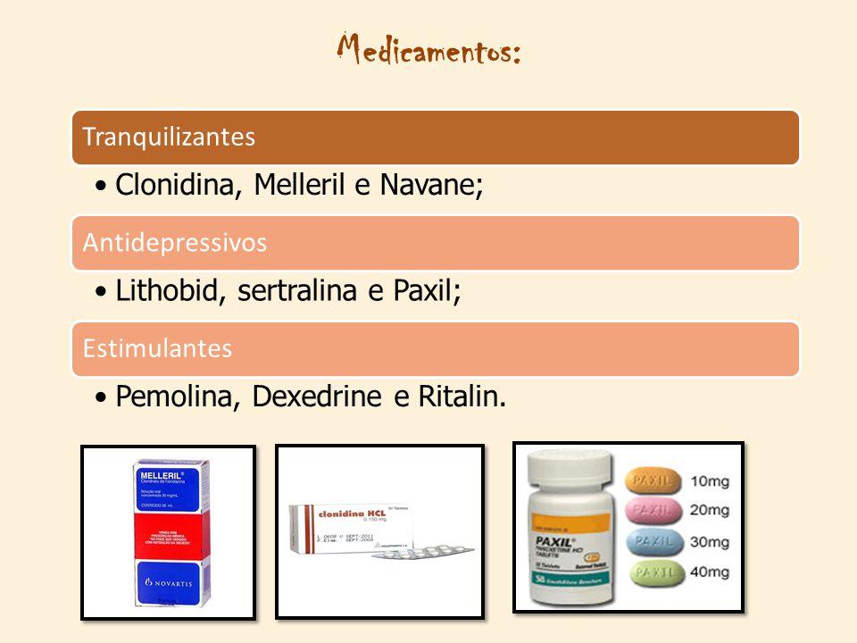 Medicamentos: Tranquilizantes Clonidina, Melleril e Navane; Antidepressivos Lithobid, sertralina e Paxil; Estimulantes Pemolina, Dexedrine e Ritalin.