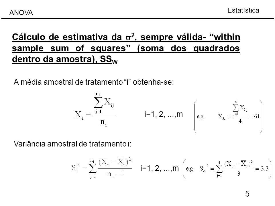 """Estatística ANOVA 5 Cálculo de estimativa da  2, sempre válida- """"within sample sum of squares"""" (soma dos quadrados dentro da amostra), SS W A média a"""