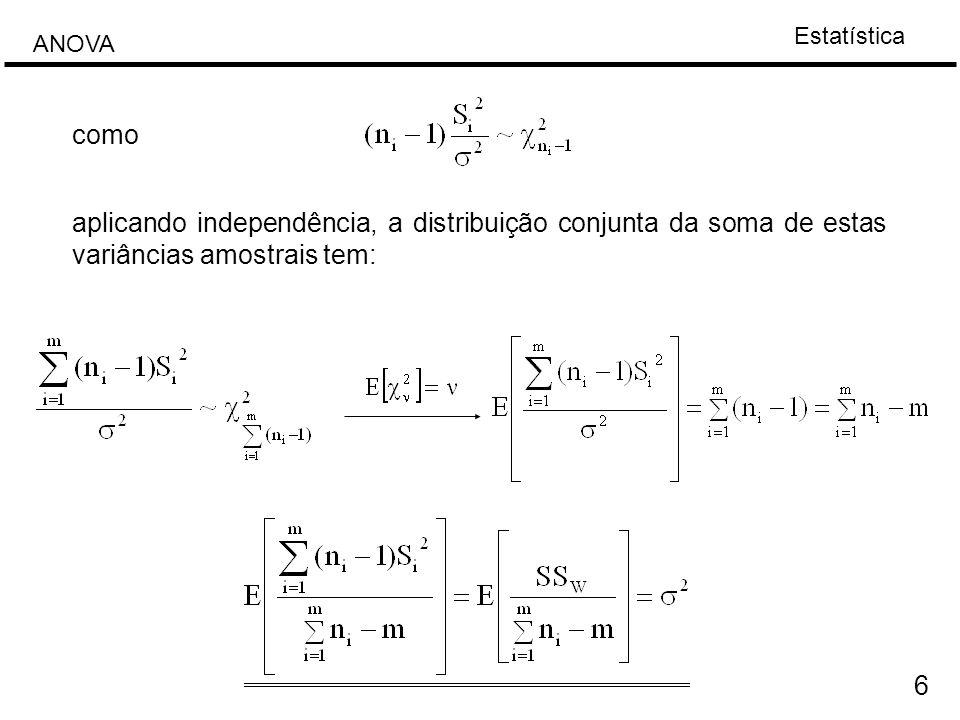 Estatística ANOVA 17 Caso especial: o número de dados em cada tratamento e igual, n 1 = n 2 =...= n m Fonte de variabilidade Soma quadradaGrau de liberdade F Entre das amostras m-1 dentro da amostra m(n-1)
