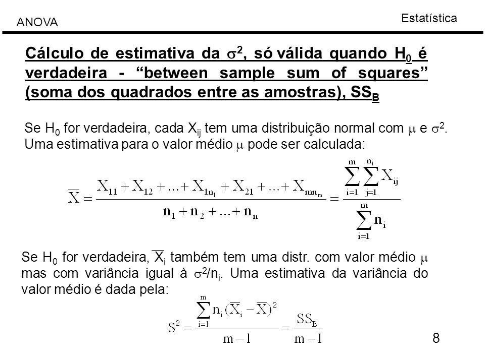 Estatística ANOVA 19 A equação anterior pode ser apresentada em forma matricial: [X]=[A]+[T]+[R] Exemplo: XjiXji XX i -XX ji -X i valor médio amostral incremento de coluna (tratamento) resíduo