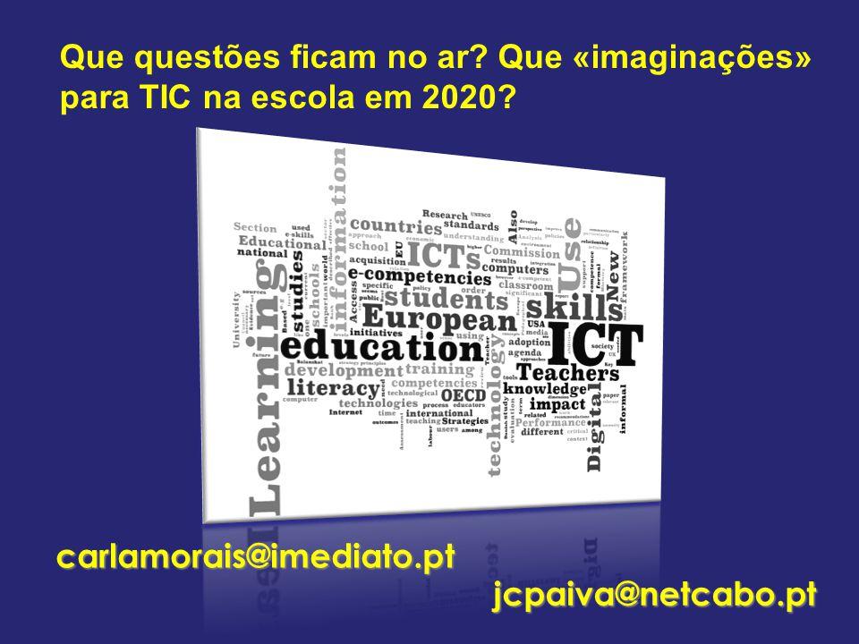 Que questões ficam no ar. Que «imaginações» para TIC na escola em 2020.