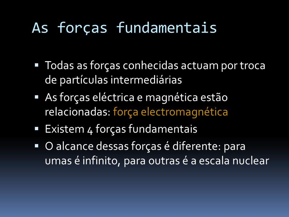 As forças fundamentais  Todas as forças conhecidas actuam por troca de partículas intermediárias  As forças eléctrica e magnética estão relacionadas: força electromagnética  Existem 4 forças fundamentais  O alcance dessas forças é diferente: para umas é infinito, para outras é a escala nuclear