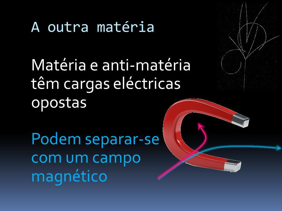 Matéria e anti-matéria têm cargas eléctricas opostas Podem separar-se com um campo magnético