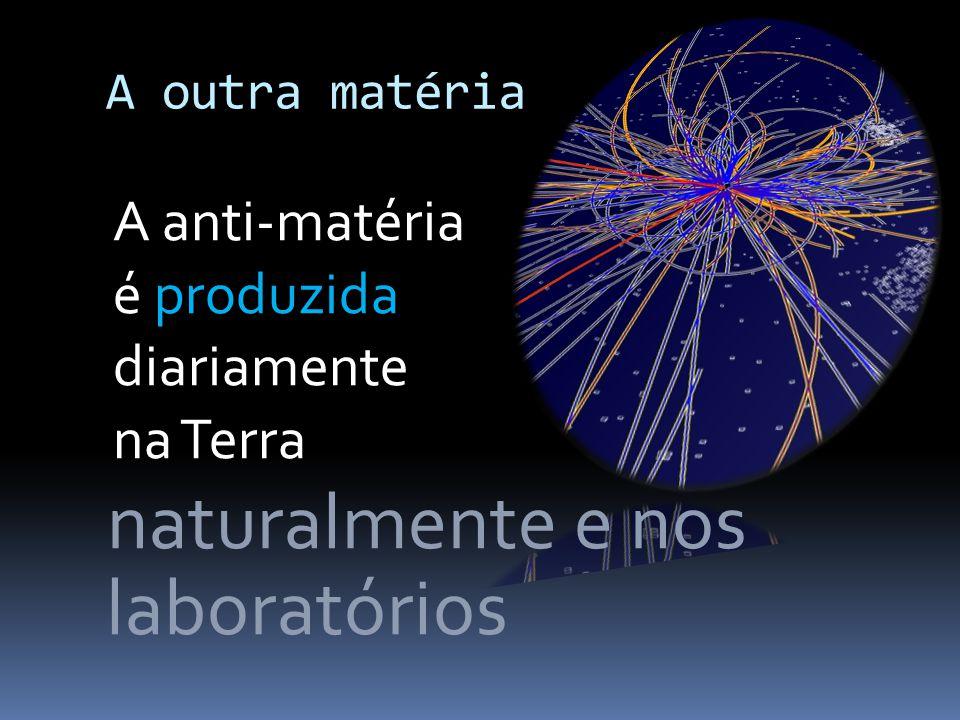 A outra matéria Quando matéria e anti-matéria entram em contacto aniquilam-se mutuamente O resultado são partículas de luz, fotões