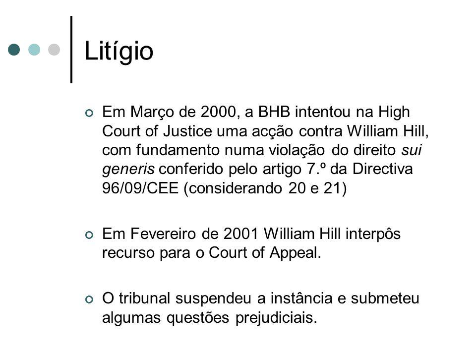 Litígio Em Março de 2000, a BHB intentou na High Court of Justice uma acção contra William Hill, com fundamento numa violação do direito sui generis c