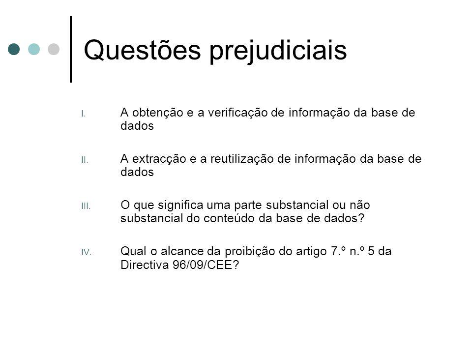 Questões prejudiciais I. A obtenção e a verificação de informação da base de dados II. A extracção e a reutilização de informação da base de dados III