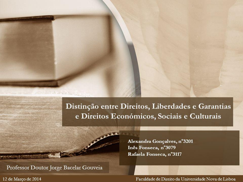 Distinção entre Direitos, Liberdades e Garantias e Direitos Económicos, Sociais e Culturais Alexandra Gonçalves, nº3201 Inês Fonseca, nº3079 Rafaela F