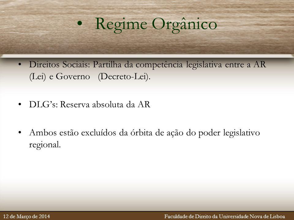Regime Orgânico Direitos Sociais: Partilha da competência legislativa entre a AR (Lei) e Governo (Decreto-Lei). DLG's: Reserva absoluta da AR Ambos es