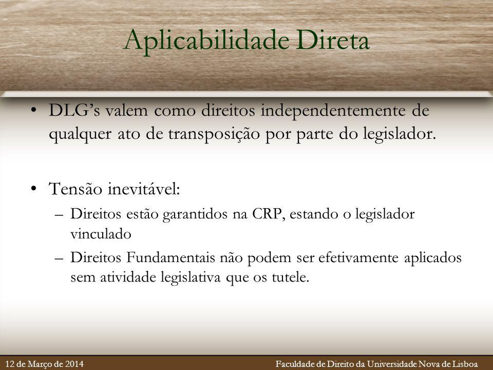 Aplicabilidade Direta DLG's valem como direitos independentemente de qualquer ato de transposição por parte do legislador. Tensão inevitável: –Direito