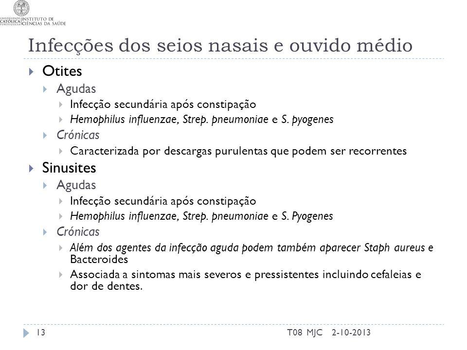 Infecções dos seios nasais e ouvido médio 2-10-2013T08 MJC13  Otites  Agudas  Infecção secundária após constipação  Hemophilus influenzae, Strep.