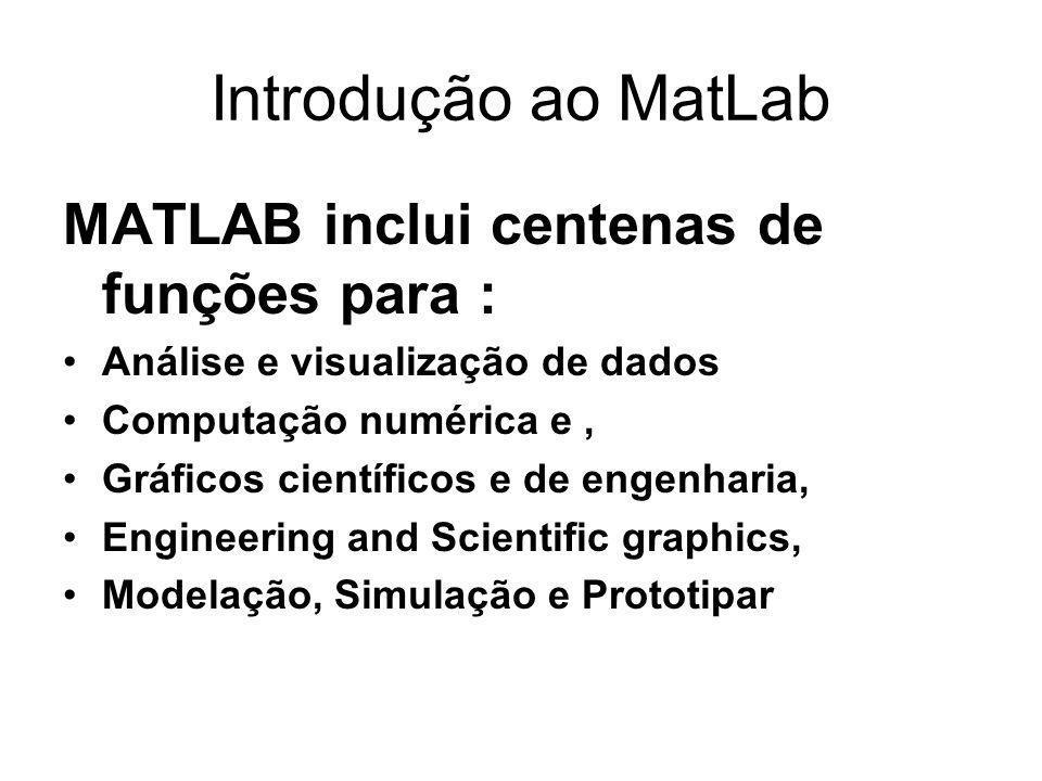 Introdução ao MatLab MATLAB inclui centenas de funções para : Análise e visualização de dados Computação numérica e, Gráficos científicos e de engenharia, Engineering and Scientific graphics, Modelação, Simulação e Prototipar
