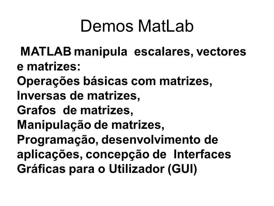 Demos MatLab MATLAB manipula escalares, vectores e matrizes: Operações básicas com matrizes, Inversas de matrizes, Grafos de matrizes, Manipulação de