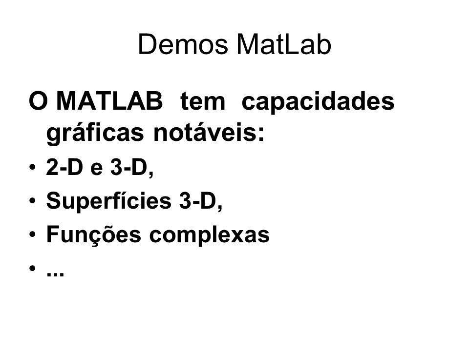 Demos MatLab O MATLAB tem capacidades gráficas notáveis: 2-D e 3-D, Superfícies 3-D, Funções complexas...