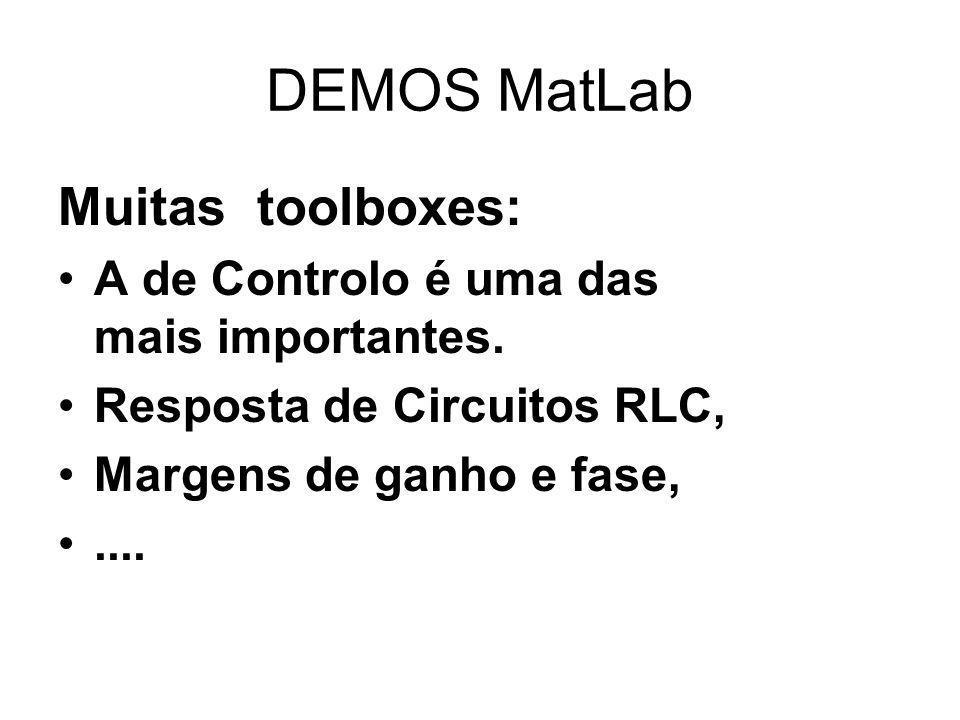 DEMOS MatLab Muitas toolboxes: A de Controlo é uma das mais importantes. Resposta de Circuitos RLC, Margens de ganho e fase,....
