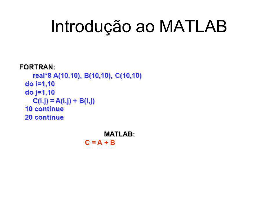 Introdução ao MATLAB FORTRAN: real*8 A(10,10), B(10,10), C(10,10) do i=1,10 do j=1,10 C(i,j) = A(i,j) + B(i,j) 10 continue 20 continue MATLAB: C = A + B C = A + B