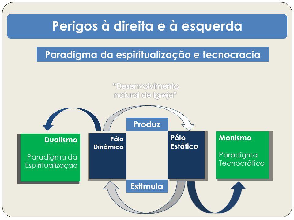 Perigos à direita e à esquerda Paradigma da espiritualização e tecnocracia Pólo Dinâmico Pólo Estático Estimula Produz Monismo Paradigma Tecnocrático Dualismo Paradigma da Espiritualização