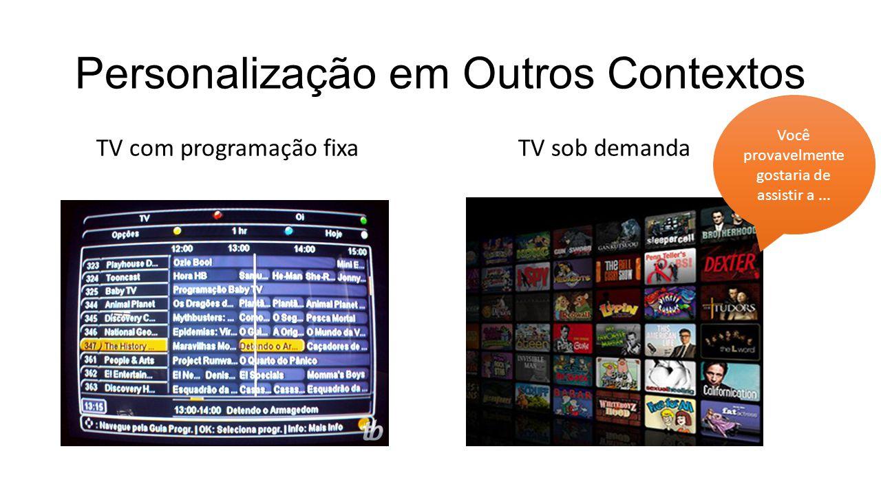 Personalização em Outros Contextos TV com programação fixa TV sob demanda Você provavelmente gostaria de assistir a...