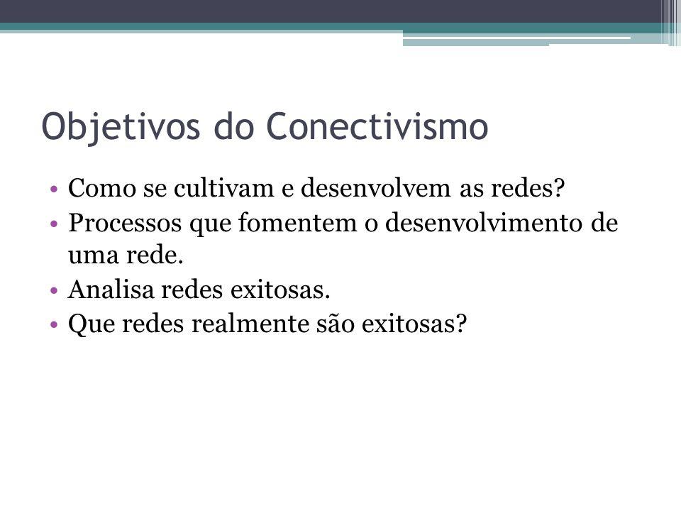 Objetivos do Conectivismo Como se cultivam e desenvolvem as redes? Processos que fomentem o desenvolvimento de uma rede. Analisa redes exitosas. Que r