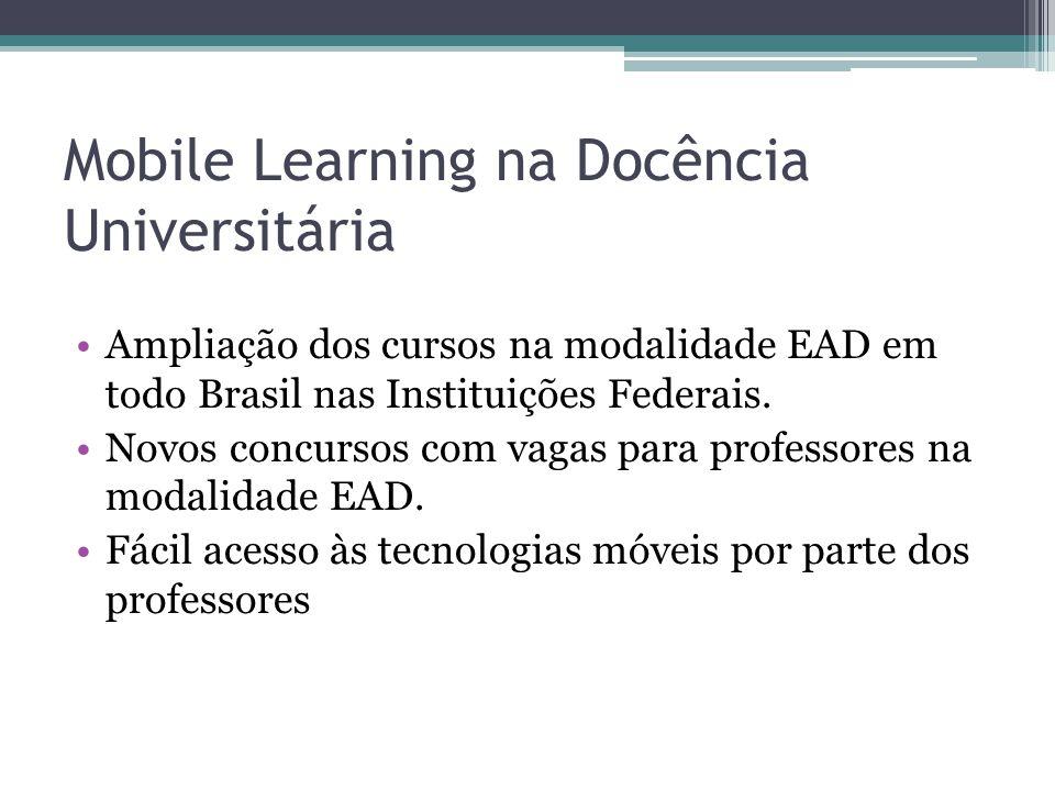 Mobile Learning na Docência Universitária Ampliação dos cursos na modalidade EAD em todo Brasil nas Instituições Federais. Novos concursos com vagas p