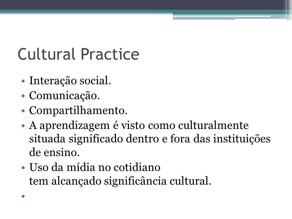Cultural Practice Interação social. Comunicação. Compartilhamento. A aprendizagem é visto como culturalmente situada significado dentro e fora das ins