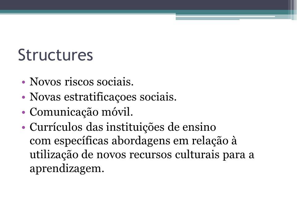 Structures Novos riscos sociais. Novas estratificaçoes sociais. Comunicação móvil. Currículos das instituições de ensino com específicas abordagens em