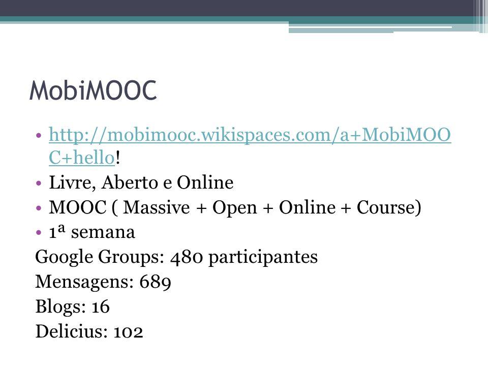 MobiMOOC http://mobimooc.wikispaces.com/a+MobiMOO C+hello!http://mobimooc.wikispaces.com/a+MobiMOO C+hello Livre, Aberto e Online MOOC ( Massive + Open + Online + Course) 1ª semana Google Groups: 480 participantes Mensagens: 689 Blogs: 16 Delicius: 102