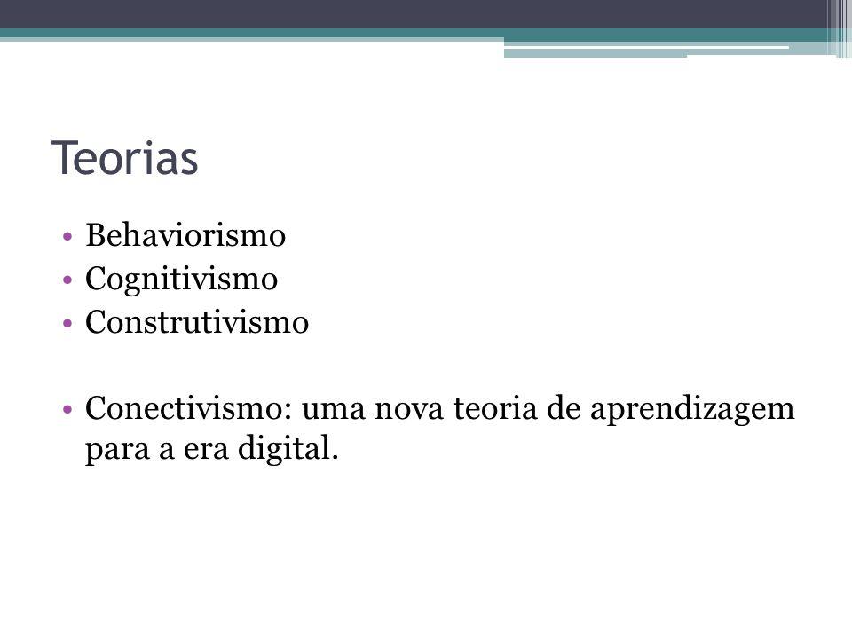 Teorias Behaviorismo Cognitivismo Construtivismo Conectivismo: uma nova teoria de aprendizagem para a era digital.