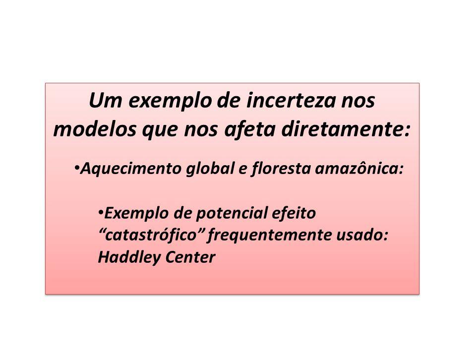 Um exemplo de incerteza nos modelos que nos afeta diretamente: Aquecimento global e floresta amazônica: Exemplo de potencial efeito catastrófico frequentemente usado: Haddley Center Um exemplo de incerteza nos modelos que nos afeta diretamente: Aquecimento global e floresta amazônica: Exemplo de potencial efeito catastrófico frequentemente usado: Haddley Center