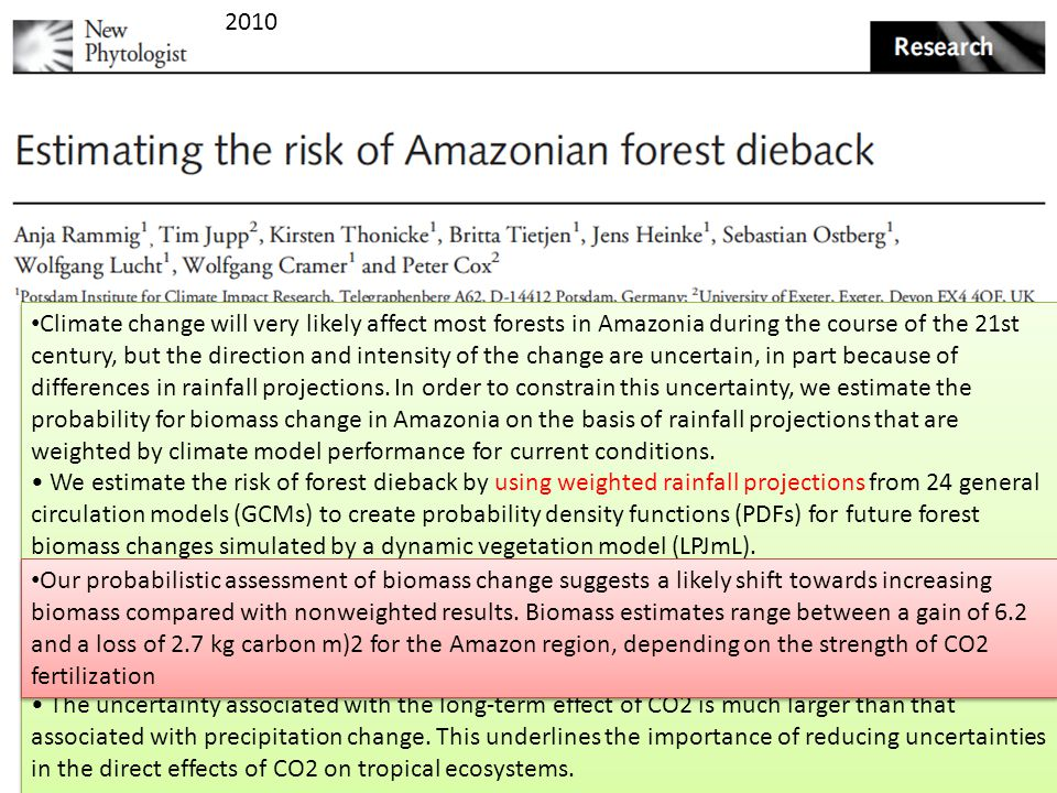 Climate change will very likely affect most forests in Amazonia during the course of the 21st century, but the direction and intensity of the change are uncertain, in part because of differences in rainfall projections.