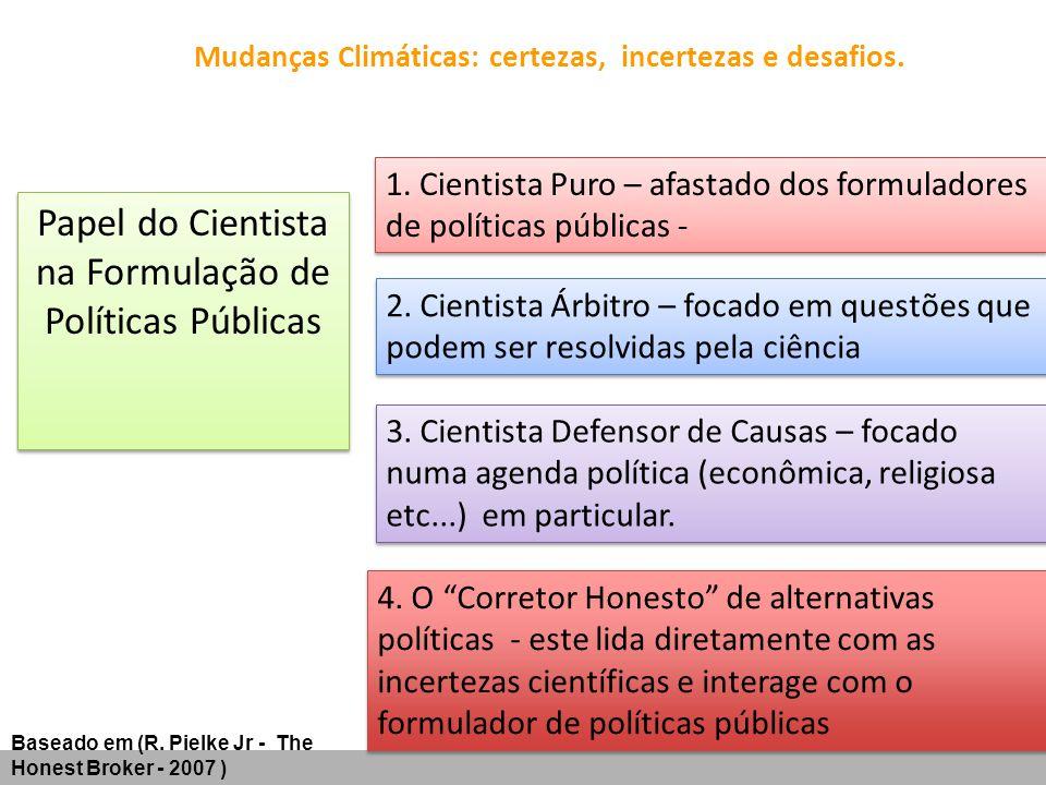 Mudanças Climáticas: certezas, incertezas e desafios. Papel do Cientista na Formulação de Políticas Públicas 1. Cientista Puro – afastado dos formulad