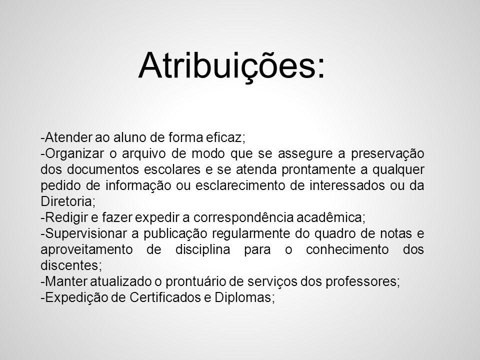 Atribuições: -Atender ao aluno de forma eficaz; -Organizar o arquivo de modo que se assegure a preservação dos documentos escolares e se atenda pronta