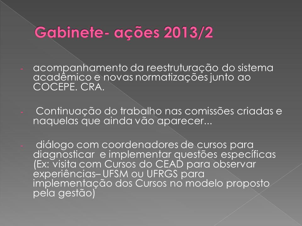 - acompanhamento da reestruturação do sistema acadêmico e novas normatizações junto ao COCEPE.