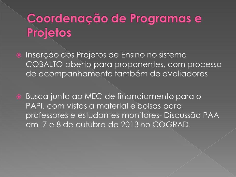  Inserção dos Projetos de Ensino no sistema COBALTO aberto para proponentes, com processo de acompanhamento também de avaliadores  Busca junto ao MEC de financiamento para o PAPI, com vistas a material e bolsas para professores e estudantes monitores- Discussão PAA em 7 e 8 de outubro de 2013 no COGRAD.