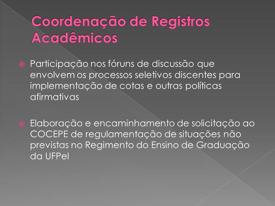  Participação nos fóruns de discussão que envolvem os processos seletivos discentes para implementação de cotas e outras políticas afirmativas  Elaboração e encaminhamento de solicitação ao COCEPE de regulamentação de situações não previstas no Regimento do Ensino de Graduação da UFPel