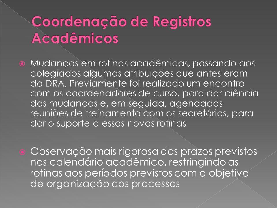  Mudanças em rotinas acadêmicas, passando aos colegiados algumas atribuições que antes eram do DRA.