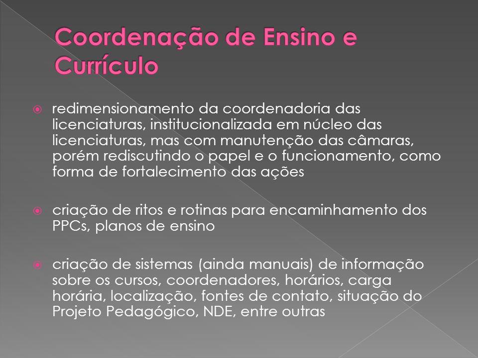  redimensionamento da coordenadoria das licenciaturas, institucionalizada em núcleo das licenciaturas, mas com manutenção das câmaras, porém rediscut