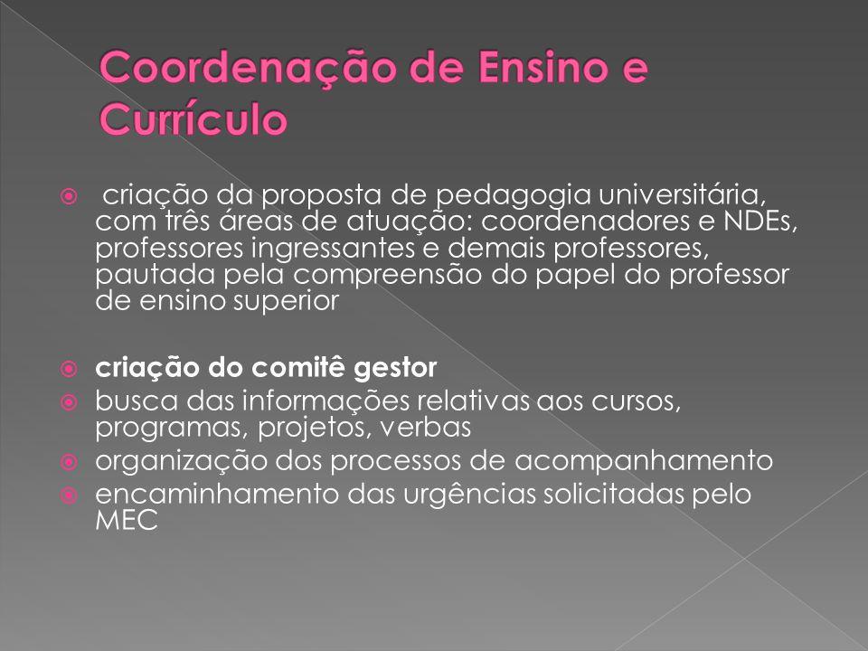  criação da proposta de pedagogia universitária, com três áreas de atuação: coordenadores e NDEs, professores ingressantes e demais professores, paut