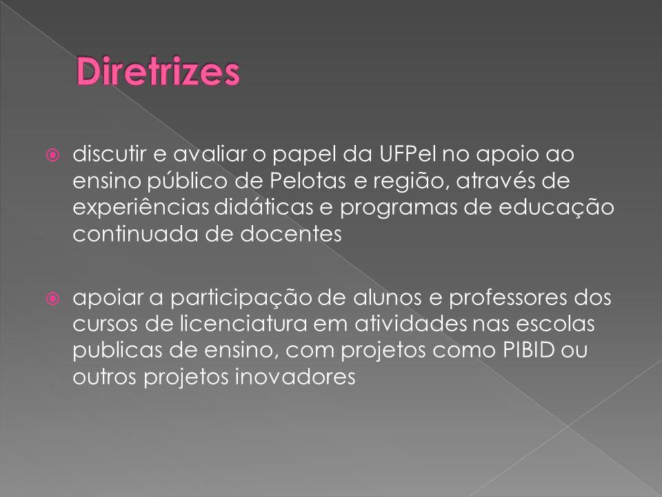  discutir e avaliar o papel da UFPel no apoio ao ensino público de Pelotas e região, através de experiências didáticas e programas de educação continuada de docentes  apoiar a participação de alunos e professores dos cursos de licenciatura em atividades nas escolas publicas de ensino, com projetos como PIBID ou outros projetos inovadores