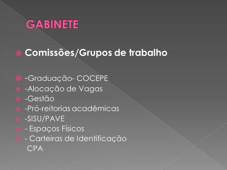  Comissões/Grupos de trabalho  - Graduação- COCEPE  -Alocação de Vagas  -Gestão  -Pró-reitorias acadêmicas  -SISU/PAVE  - Espaços Físicos  - Carteiras de Identificação - CPA