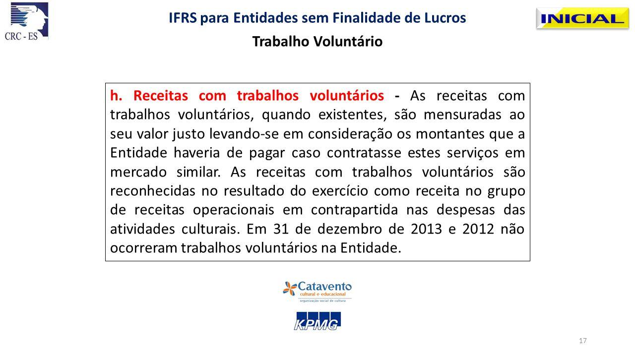 h. Receitas com trabalhos voluntários - As receitas com trabalhos voluntários, quando existentes, são mensuradas ao seu valor justo levando-se em cons