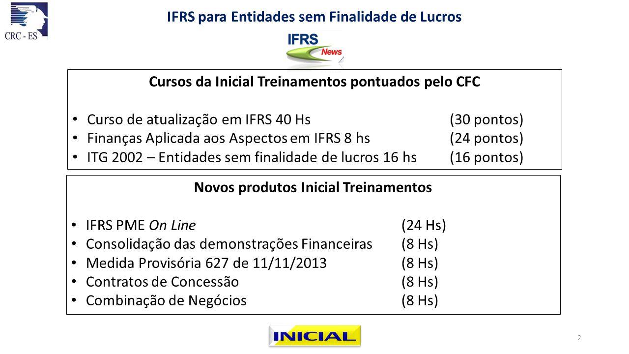 Novos produtos Inicial Treinamentos IFRS PME On Line (24 Hs) Consolidação das demonstrações Financeiras (8 Hs) Medida Provisória 627 de 11/11/2013 (8