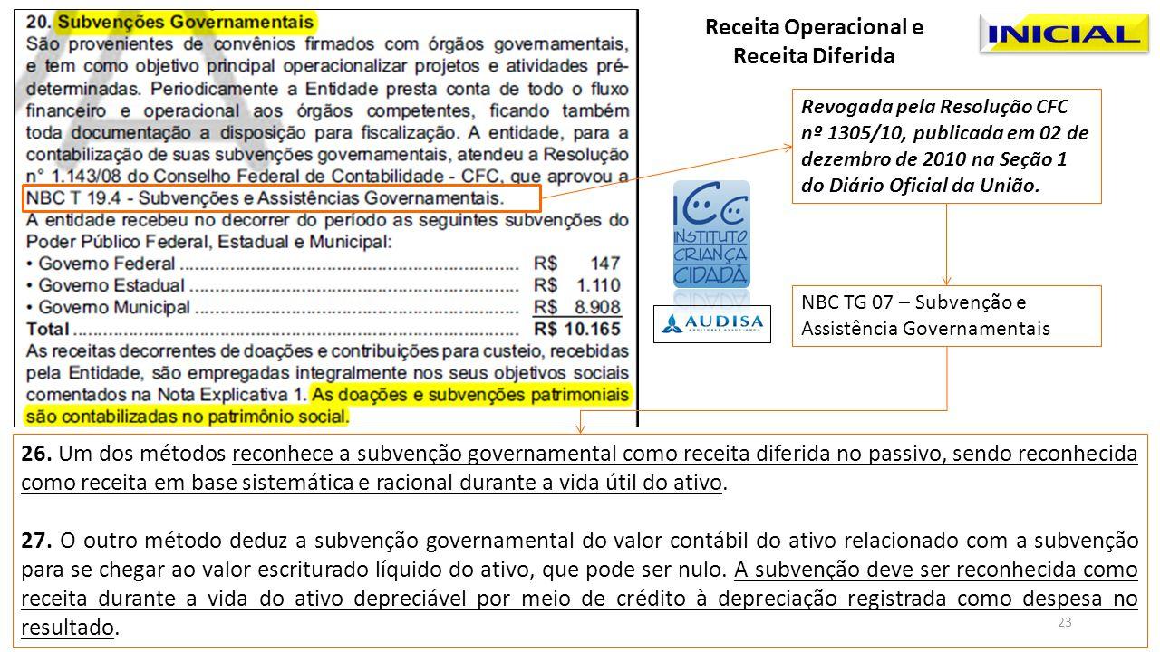 Revogada pela Resolução CFC nº 1305/10, publicada em 02 de dezembro de 2010 na Seção 1 do Diário Oficial da União. NBC TG 07 – Subvenção e Assistência