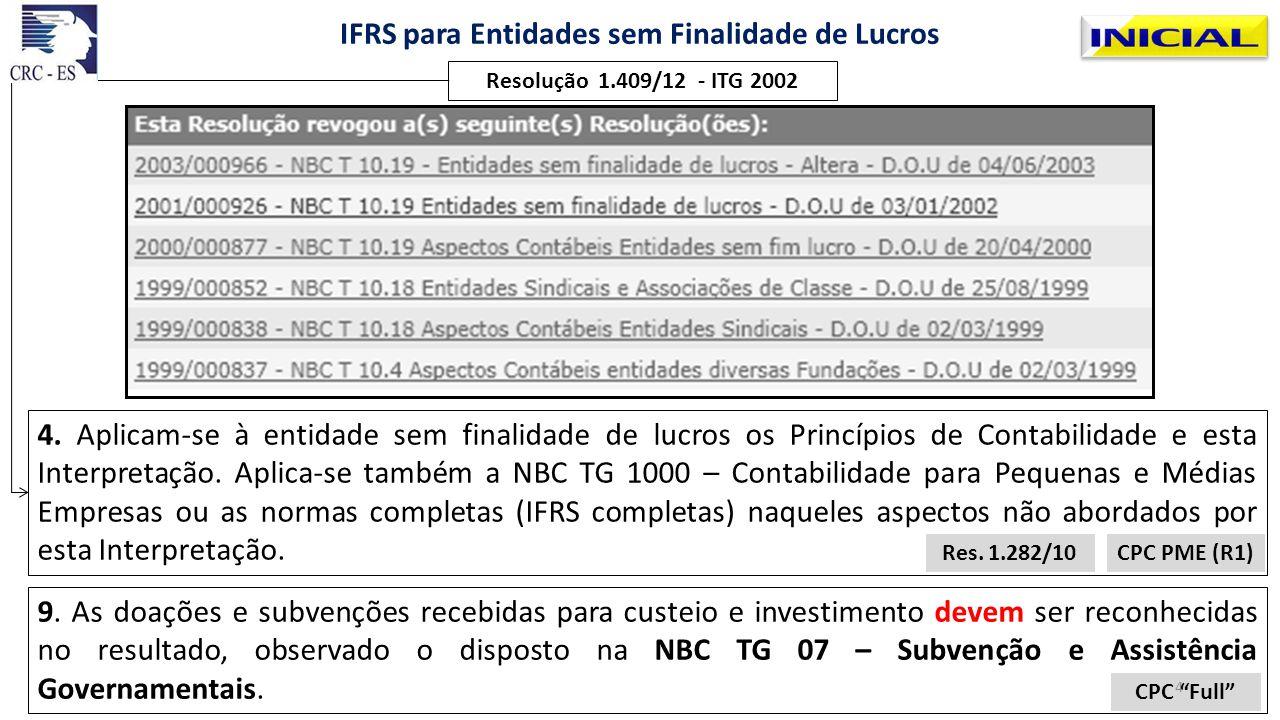 Resolução 1.409/12 - ITG 2002 IFRS para Entidades sem Finalidade de Lucros Demonstrações contábeis 20.