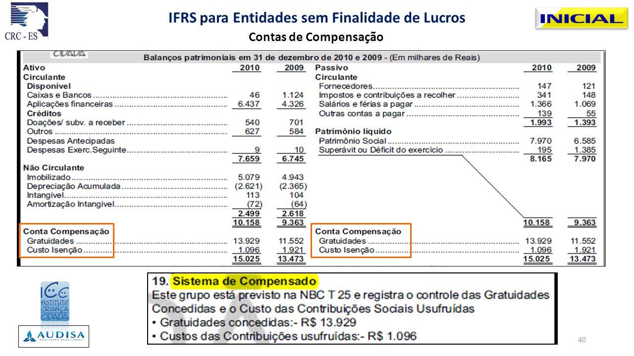 Contas de Compensação IFRS para Entidades sem Finalidade de Lucros 40