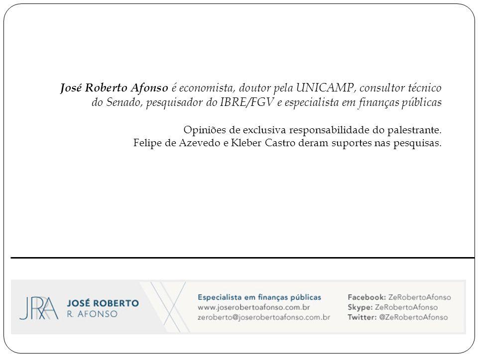 José Roberto Afonso é economista, doutor pela UNICAMP, consultor técnico do Senado, pesquisador do IBRE/FGV e especialista em finanças públicas Opiniões de exclusiva responsabilidade do palestrante.
