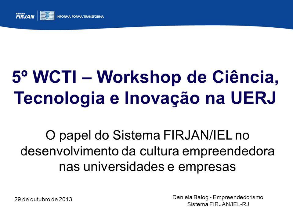 29 de outubro de 2013 5º WCTI – Workshop de Ciência, Tecnologia e Inovação na UERJ O papel do Sistema FIRJAN/IEL no desenvolvimento da cultura empreendedora nas universidades e empresas Daniela Balog - Empreendedorismo Sistema FIRJAN/IEL-RJ