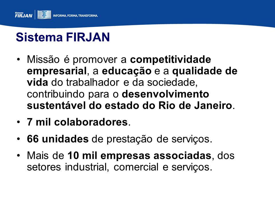 Sistema FIRJAN Missão é promover a competitividade empresarial, a educação e a qualidade de vida do trabalhador e da sociedade, contribuindo para o desenvolvimento sustentável do estado do Rio de Janeiro.